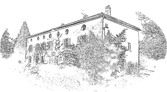 The main house at Le Masferat in pencil